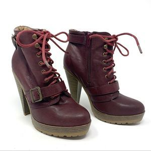 Forever 21 Plum Lace Up Ankle Boots Size 6